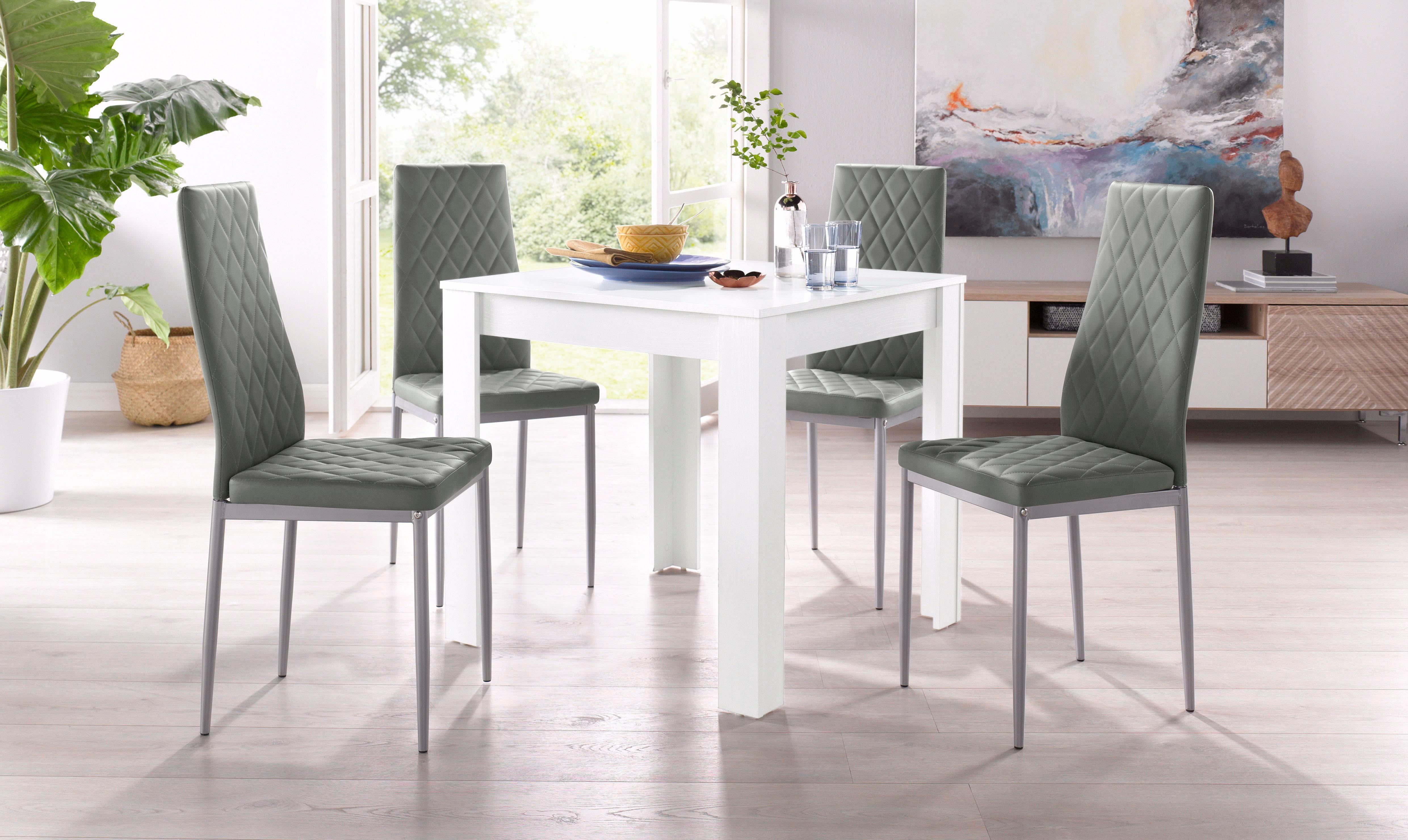 Essgruppe, Set, 5 tlg, mit Tisch in Weiß, Breite 80 cm ...