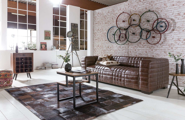 Kasper-Wohndesign Sofa Kunstleder Braun 3-Sitzer »STEP