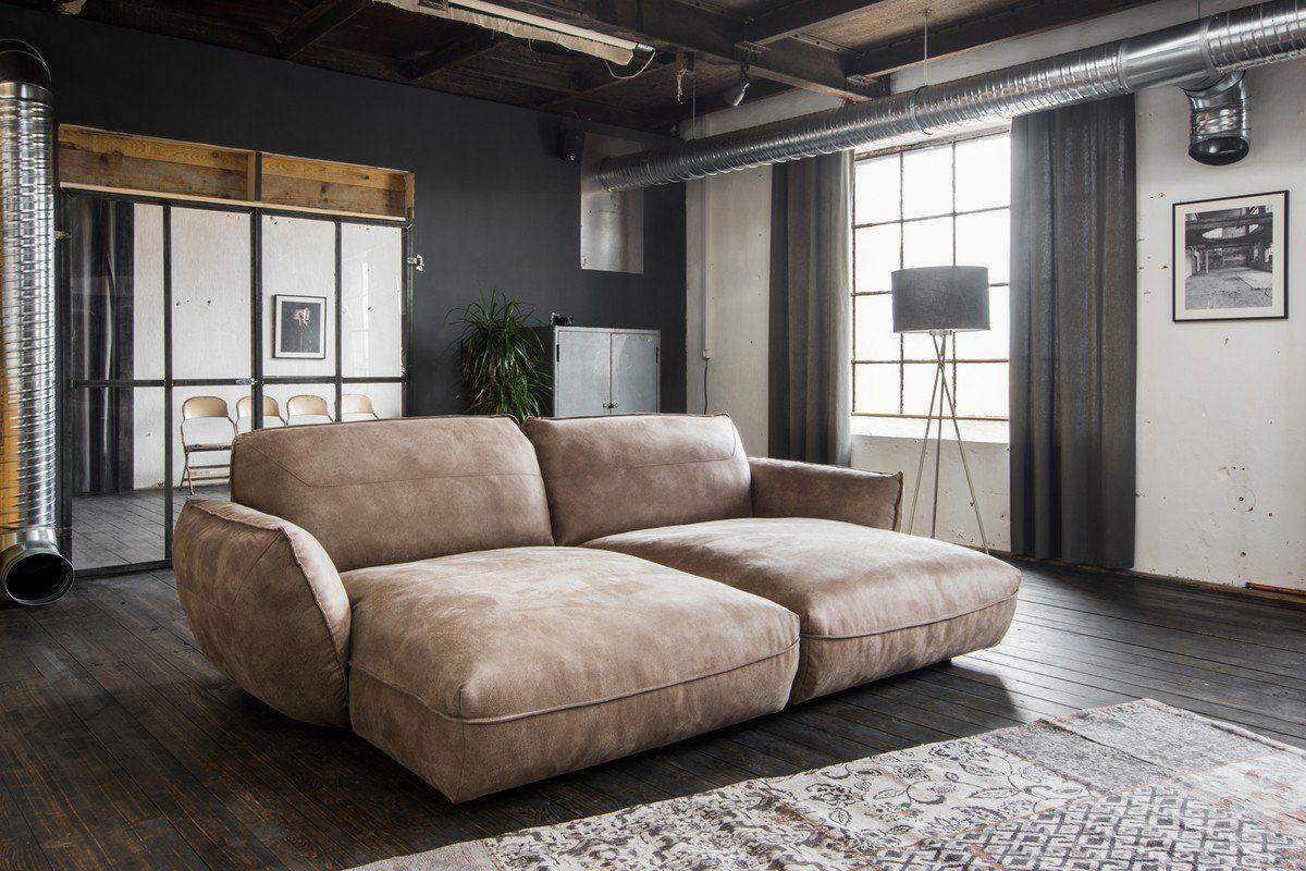 Kasper-Wohndesign Big Sofa Longchair Stoff Braun »Davito