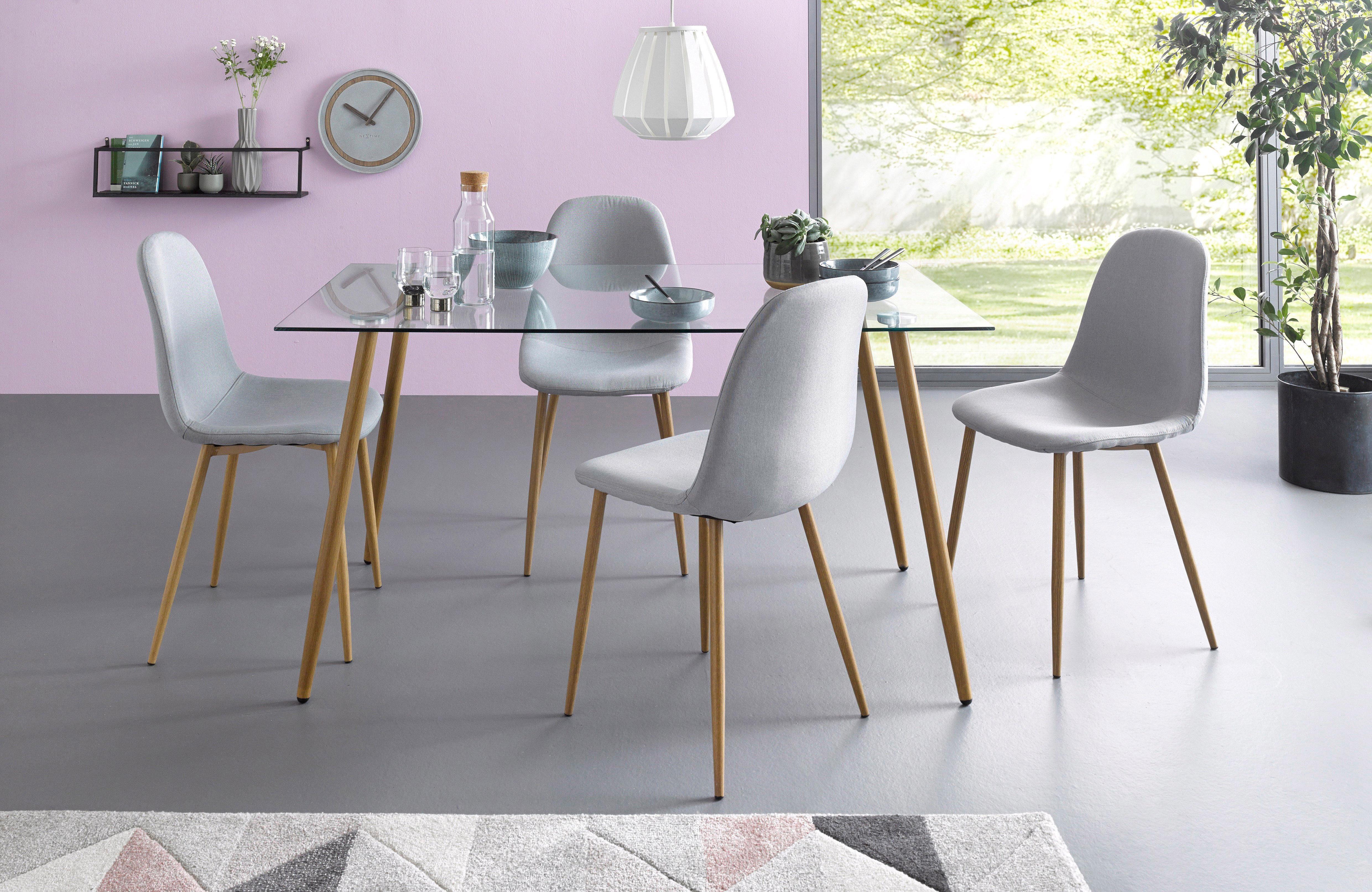 Essgruppe, Eckiger Glastisch mit 4 Stühlen Webstoff ...