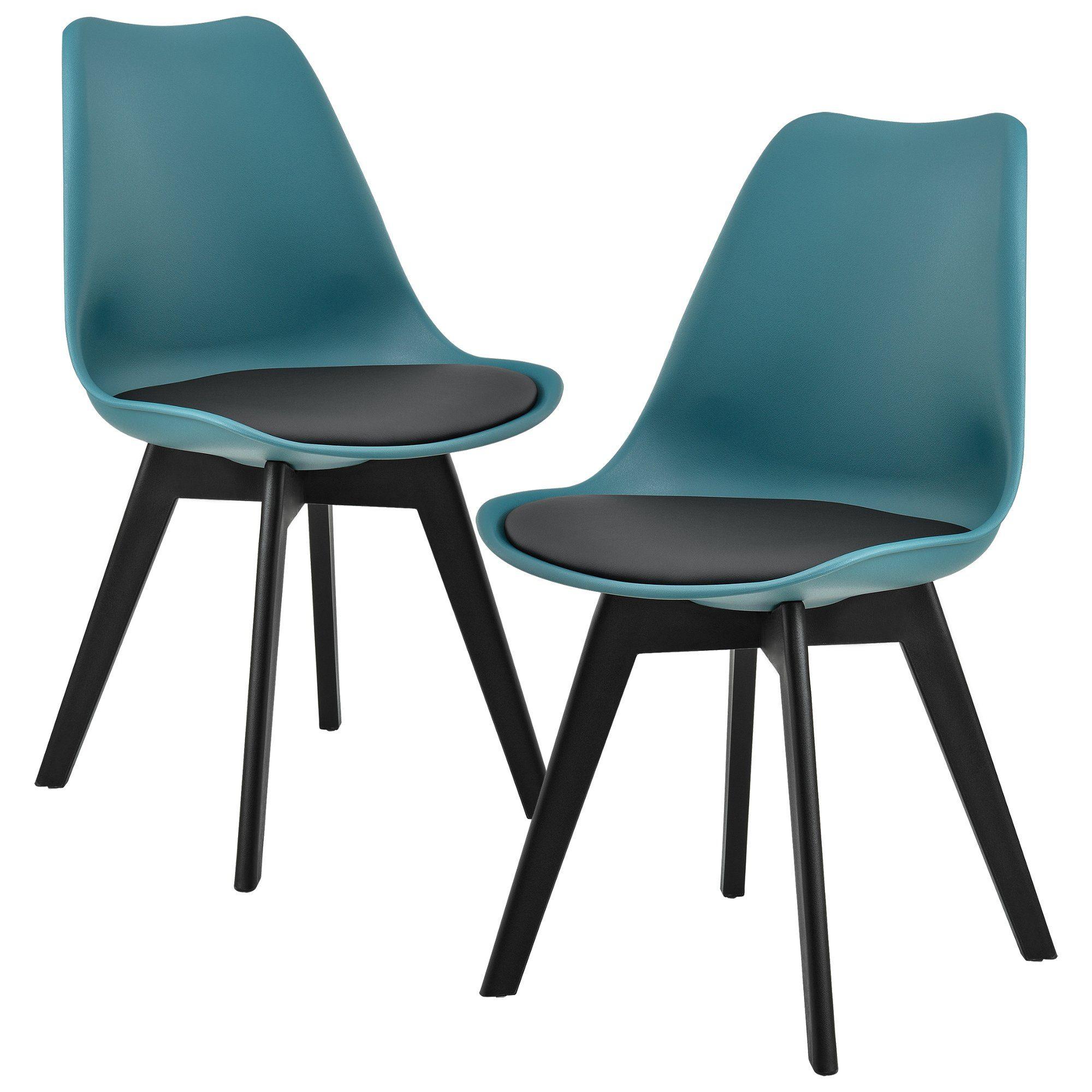 en.casa Stuhl 2x Design Stühle Esszimmer Türkis Kunststoff ...