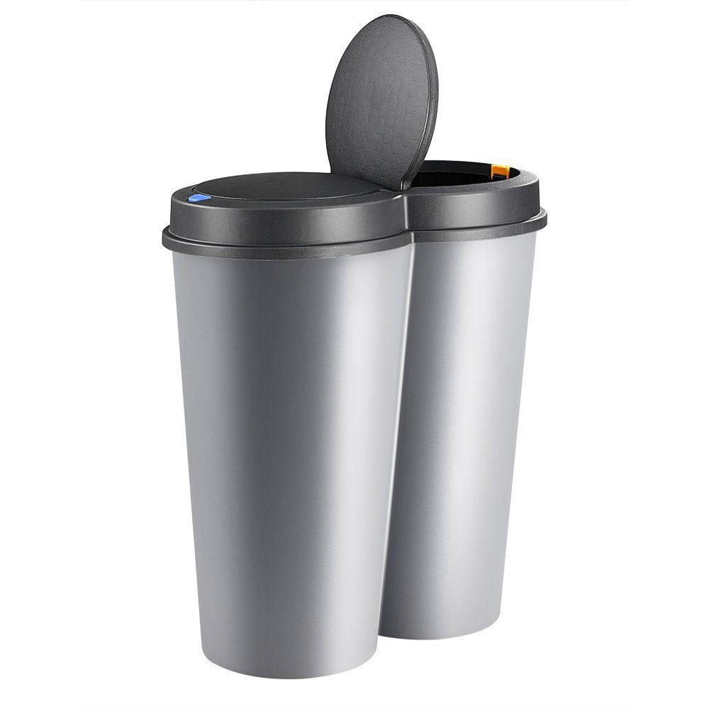 deuba mülleimer duo bin 50 l 2fach trennsystem 2x25 küche abfalleimer müllbehälter mülltrennung silber online kaufen otto