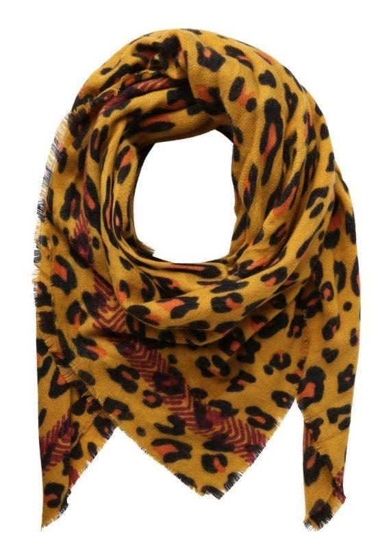 pieces luipaardprint sjaal geel