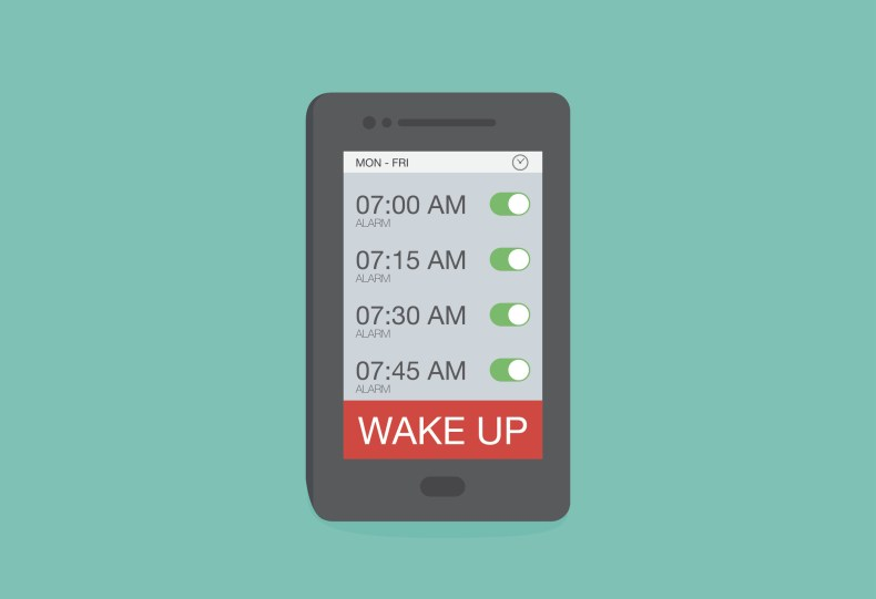 animation of a smartphone with multiple alarms set