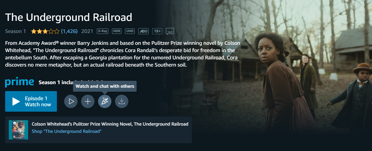 screenshot from The Underground Railroad details page with Watch Party icon selected