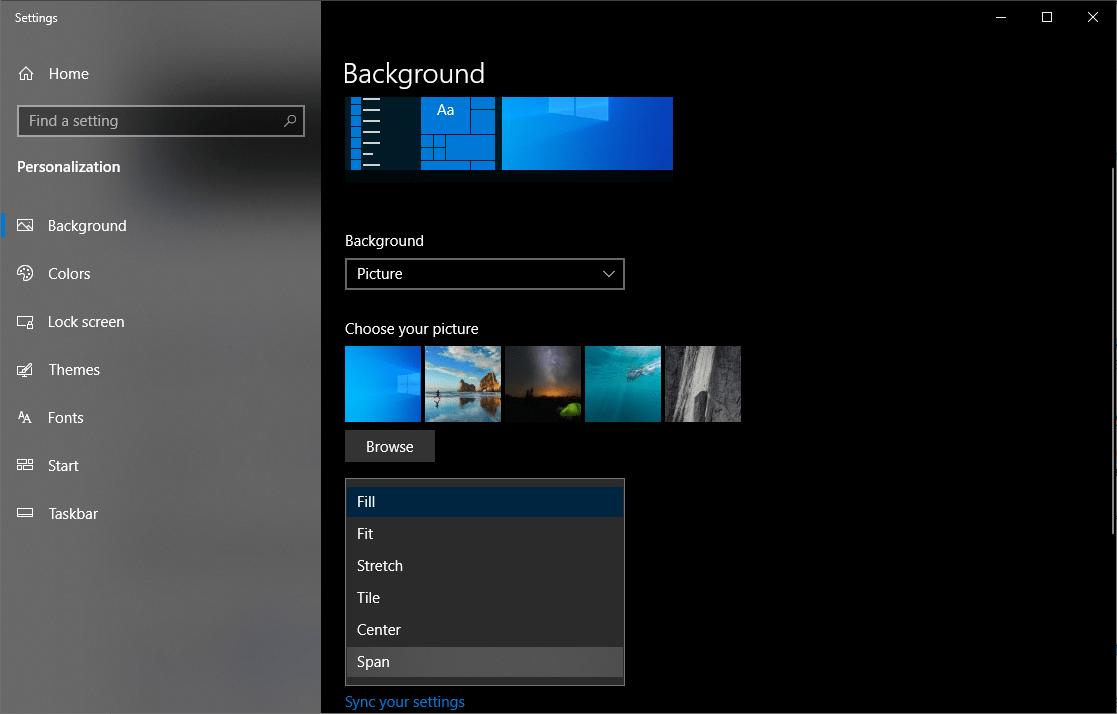 background settings