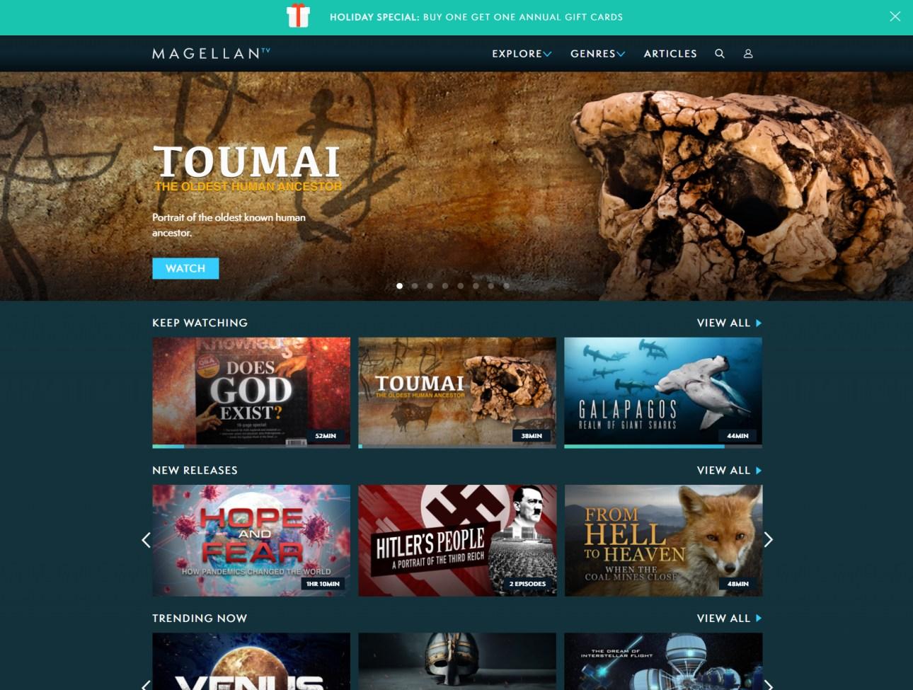 Домашняя страница MagellanTV