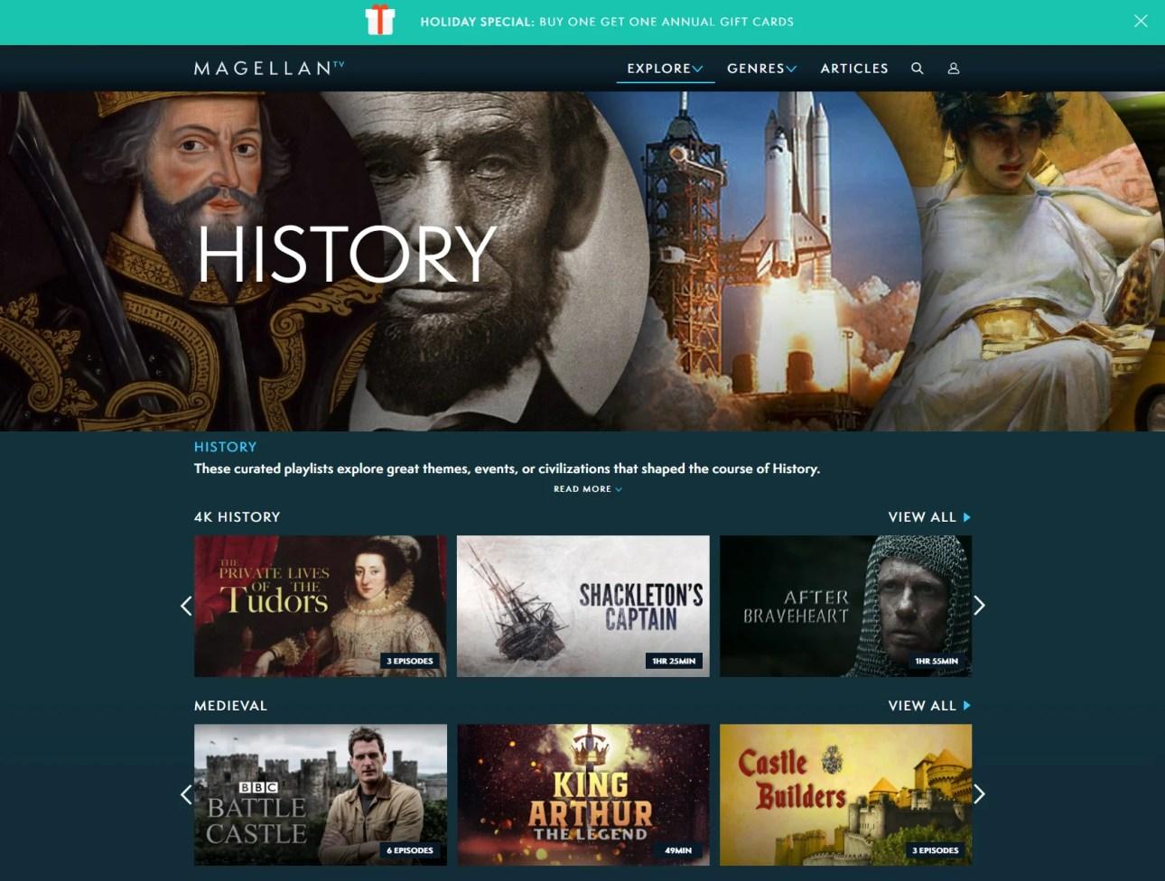 Раздел истории MagellanTV