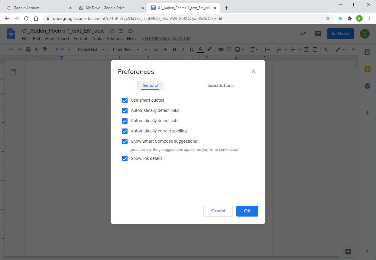 Google Workspace Google Doc options