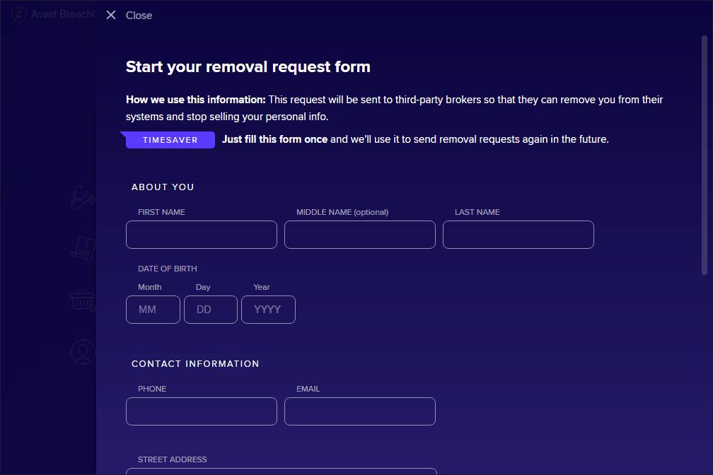 Форма запроса на удаление Avast BreachGuard