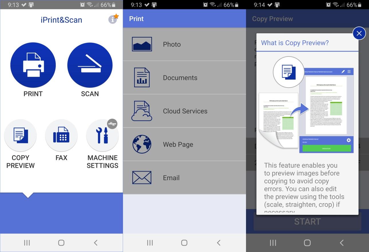 Экраны приложения Brother iPrint & Scan для Android