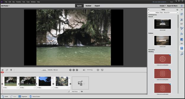 Quick Mode in Adobe Premiere Elements