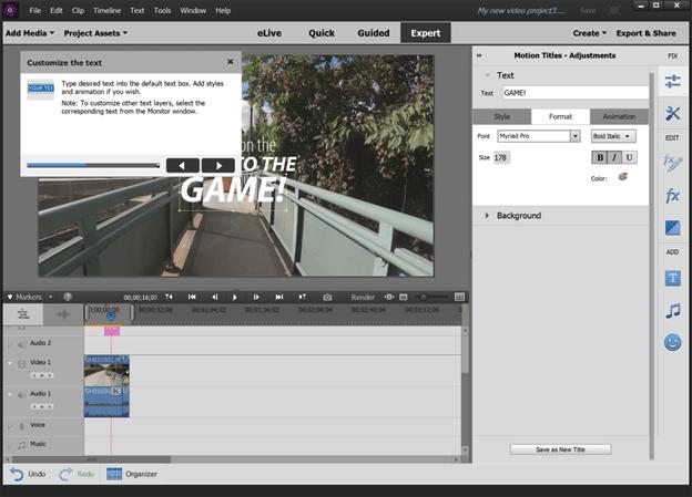 Title motion in Adobe Premiere Elements