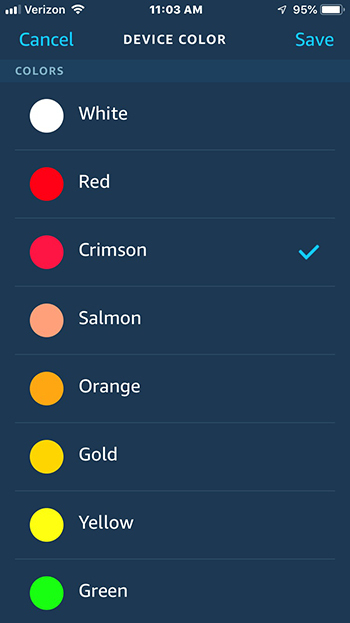 Echo Glow device color settings