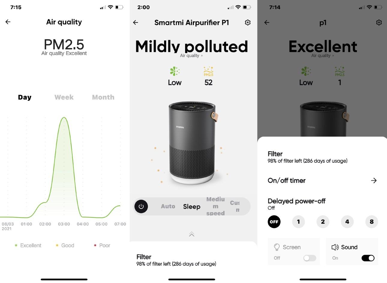 Экраны мобильного приложения Smartmi Link, показывающие уровни качества воздуха, информацию об устройстве и настройки таймера