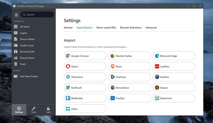 NordPass Import options