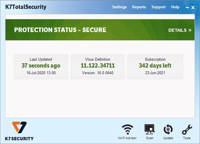 K7 Total Security Main Window