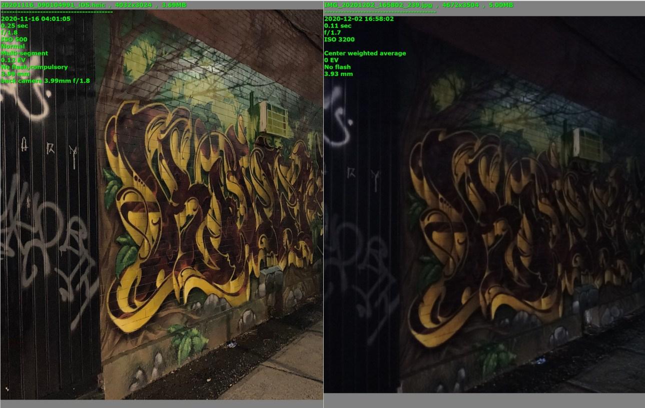 Две фотографии стены, покрытой граффити;  тот, что справа, намного темнее