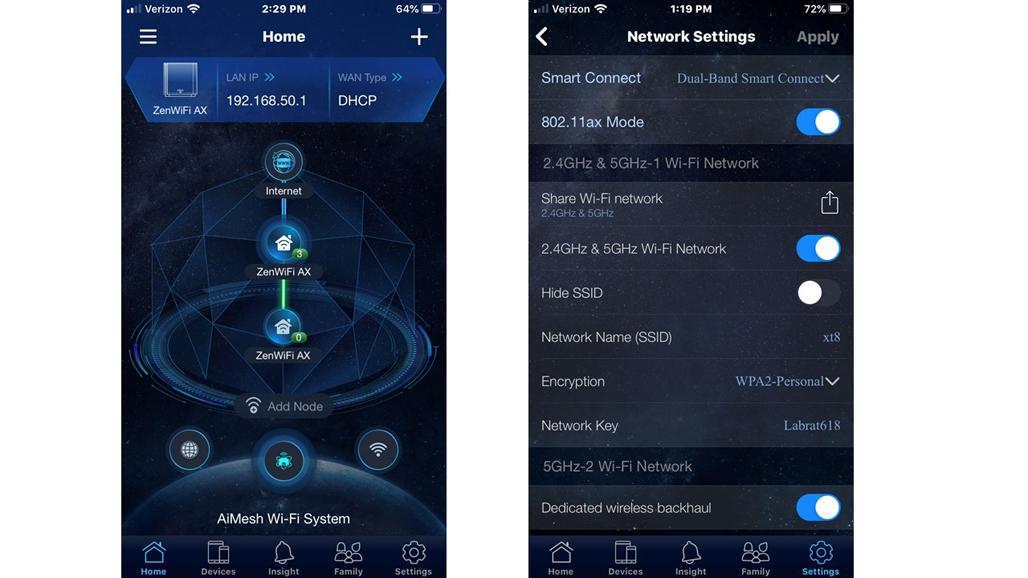 Конфигурация мобильного приложения Asus ZenWiFi XT8 и экраны приборной панели