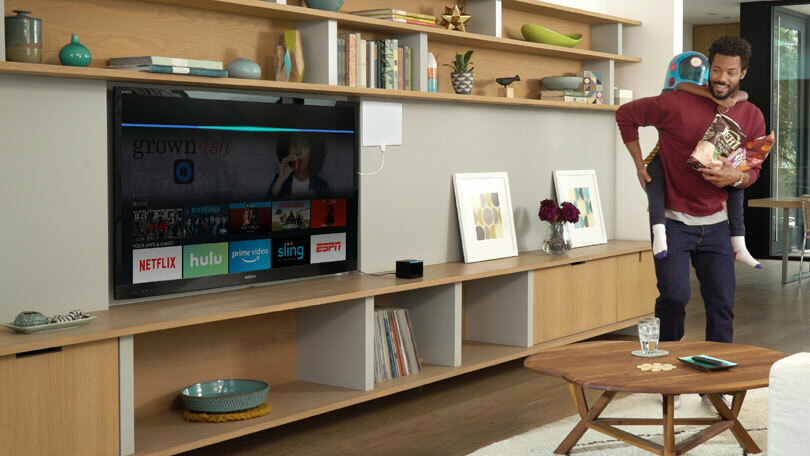 Amazon Fire TV Cube in living room setting