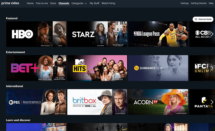 Prime Video channel add ons