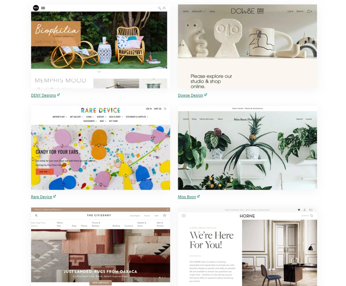Shopify's available themes