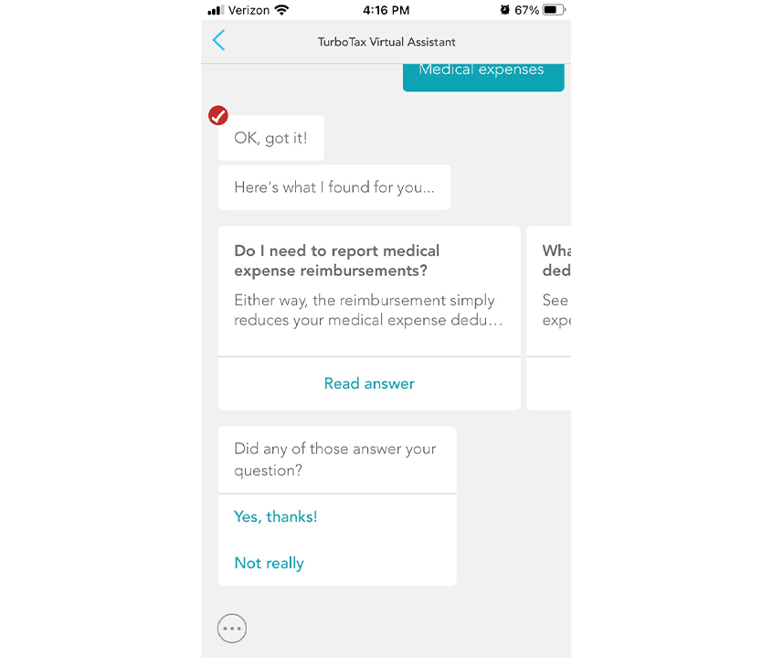 TurboTax virtual assistance in app