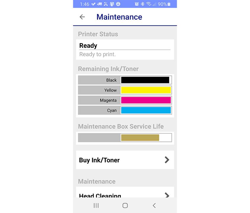 Экран приложения Epson iPrint, показывающий уровень чернил
