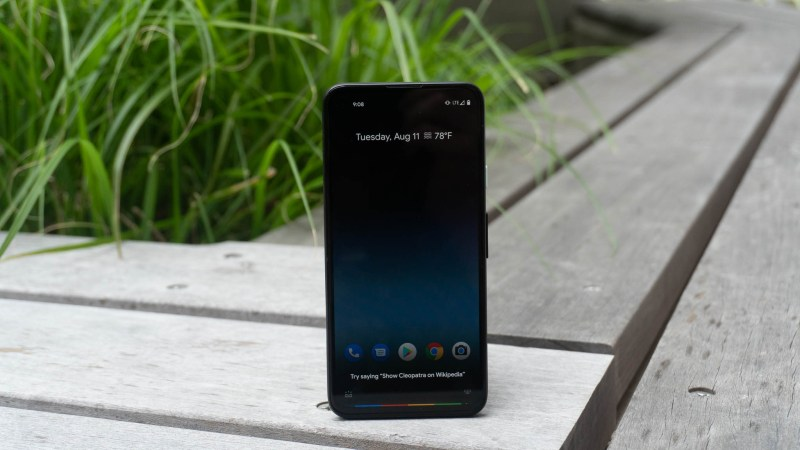 The Pixel 4a display has small bezels but is hard to see in bright light