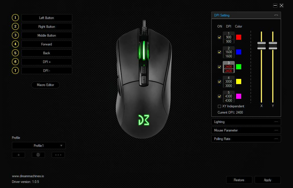 Программное обеспечение Dream Machines DM4 Evo Gaming Mouse