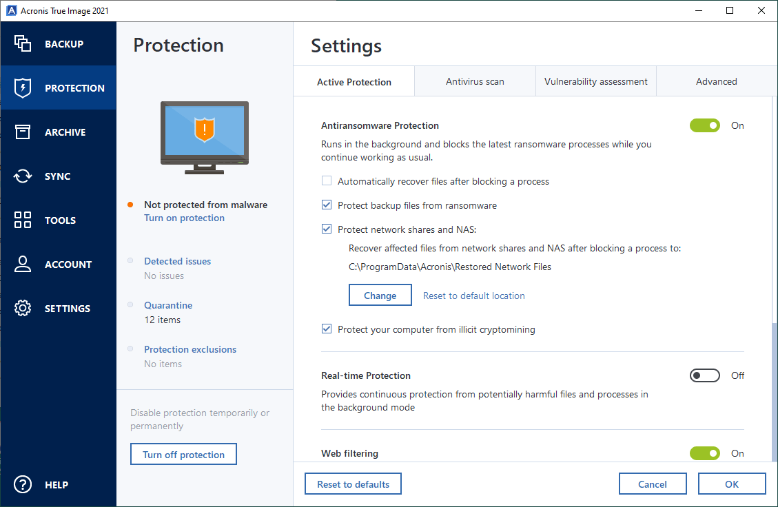 Acronis True Image Ransomware Protection Settings