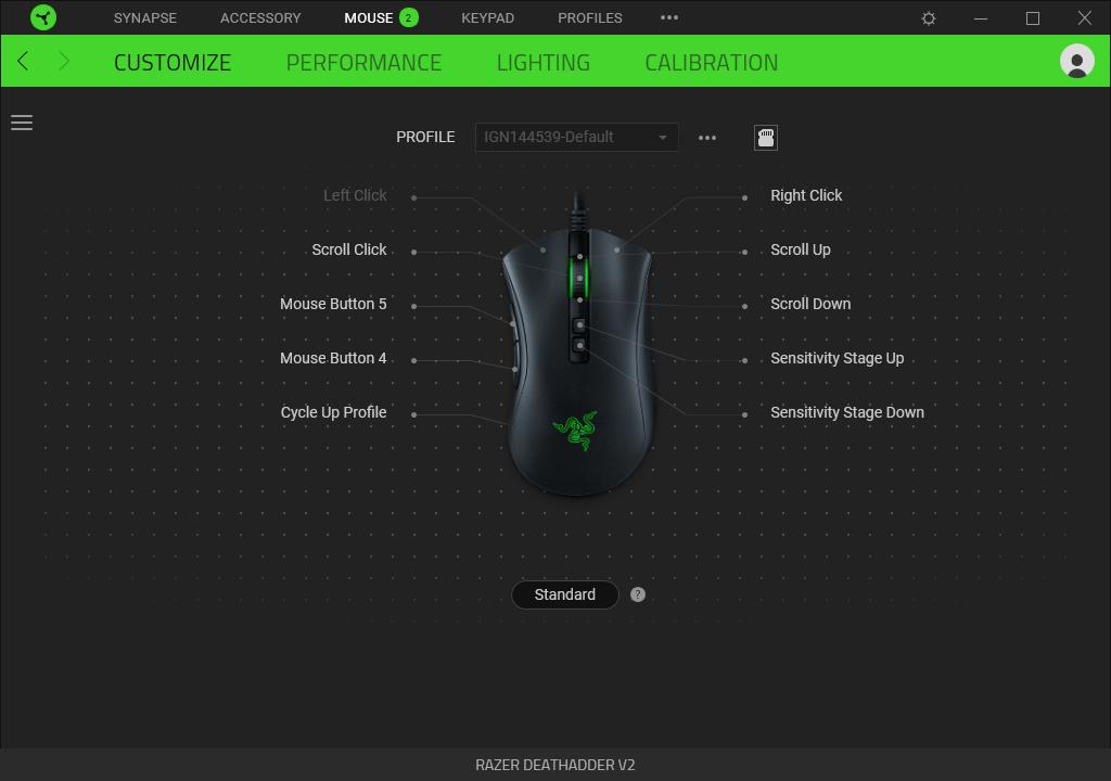 Программное обеспечение для игровой мыши Razer DeathAdder V2