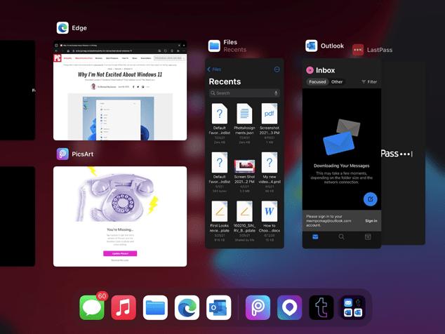 Task Switching view in iPadOS 15