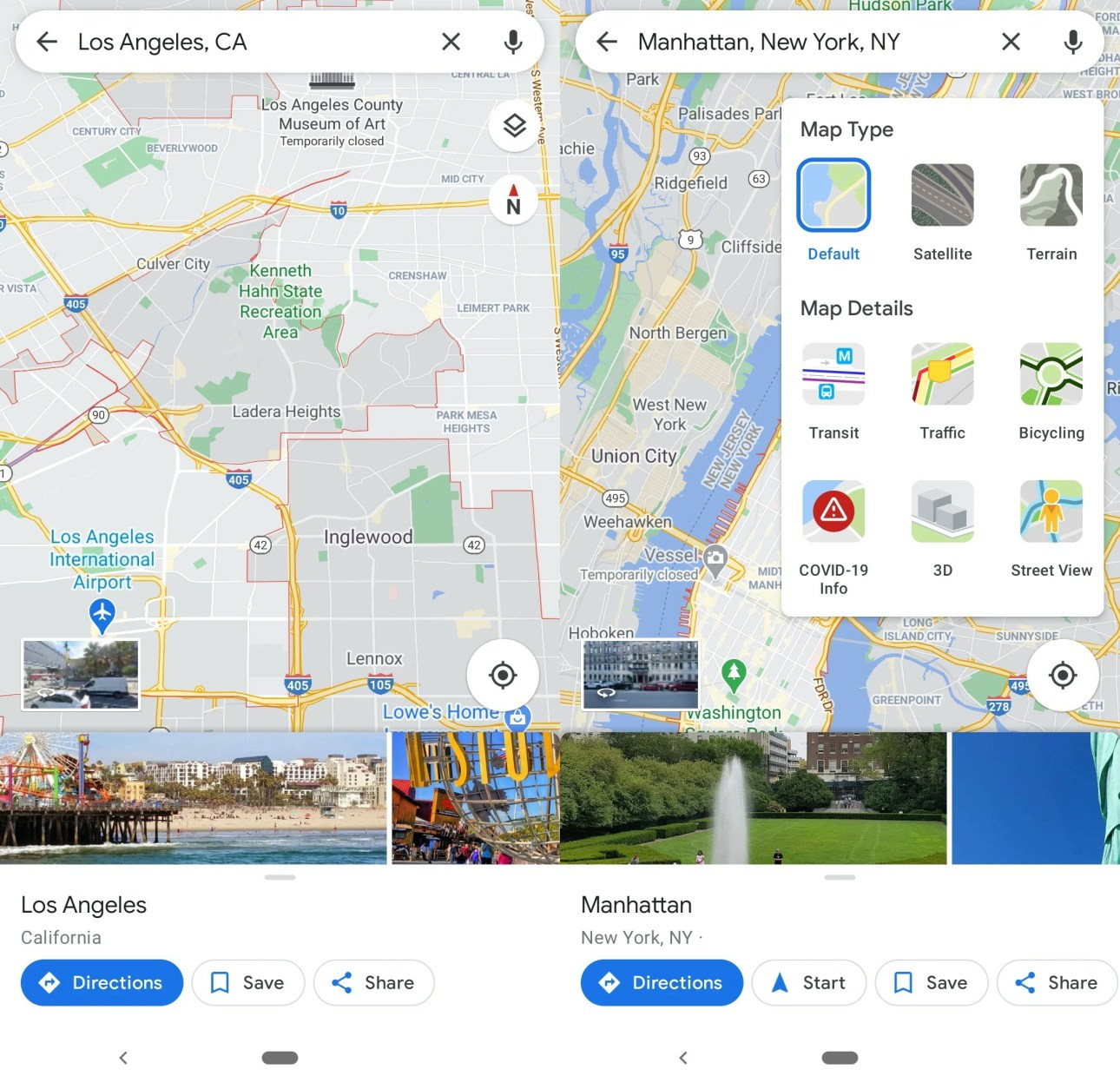 Взгляните на Google Maps на Android