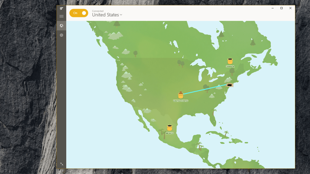 Screenshot of the TunnelBear app, showing a large and colorful map of North America.