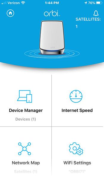 Главное меню приложения Netgear Orbi Wi-Fi 6 System AX6000 (RBK852)