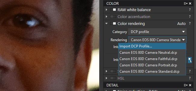 DCP Color Profiles in DxO PhotoLab