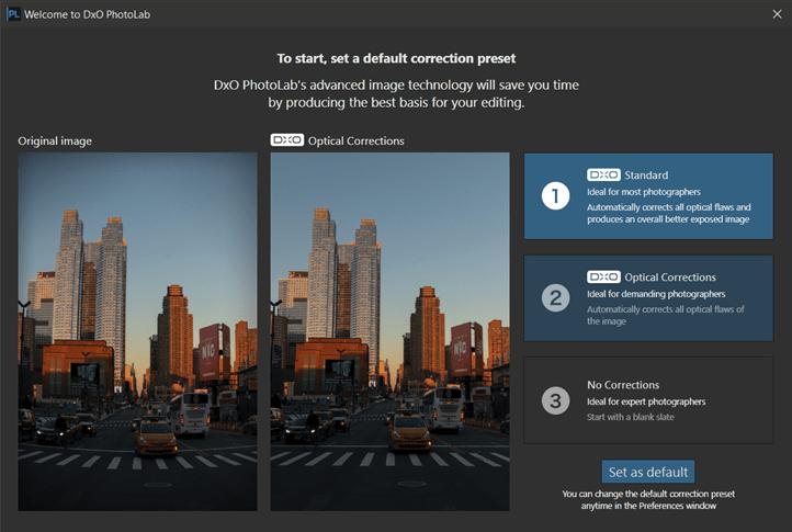 DxO PhotoLab startup screen