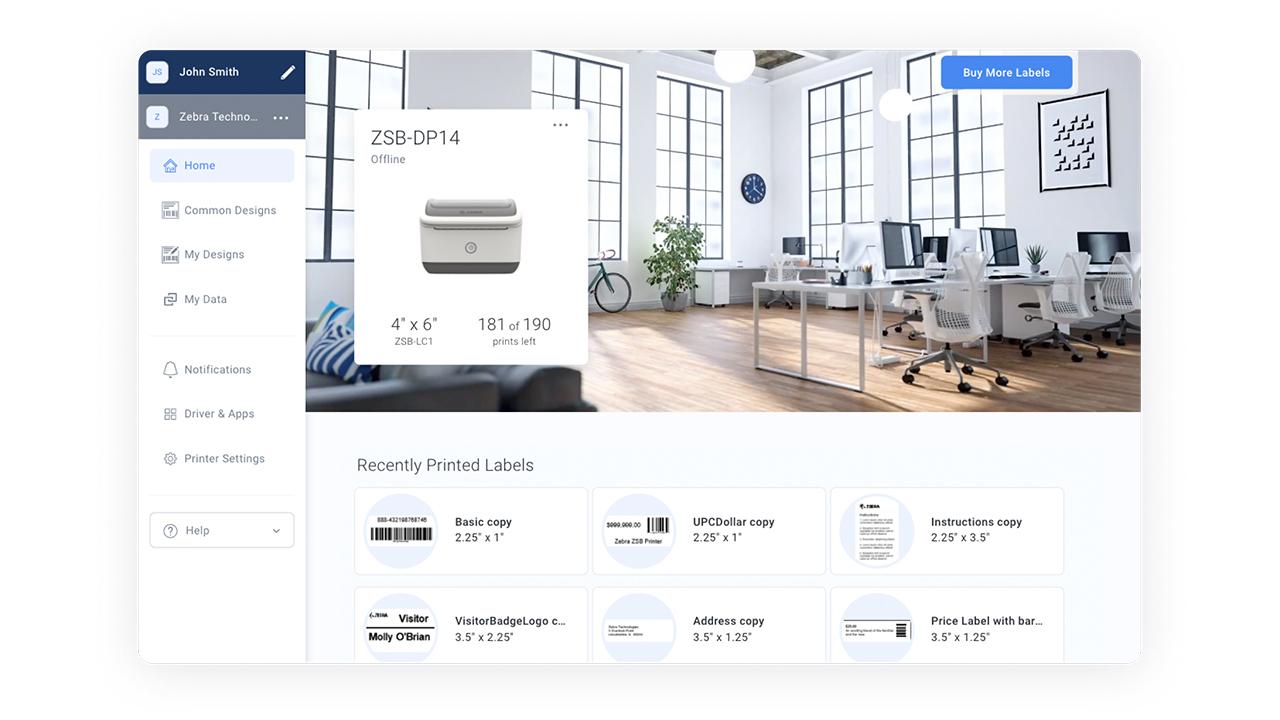 Рабочее пространство ZSB, показывающее состояние принтера и несколько недавно напечатанных этикеток.