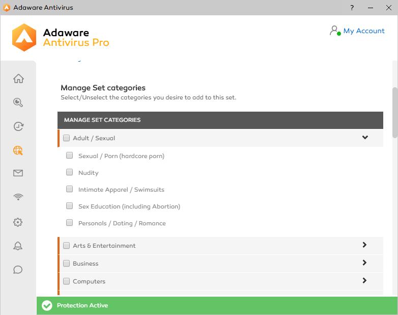 Adaware Antivirus Pro Parental Control Categories