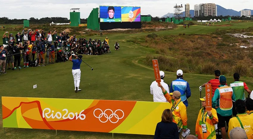 Brazilian Adilson da Silva had the privilege of hitting the first shot of the 2016 Olympic Men's Golf Competition. (Ross Kinnaird/Getty Images)