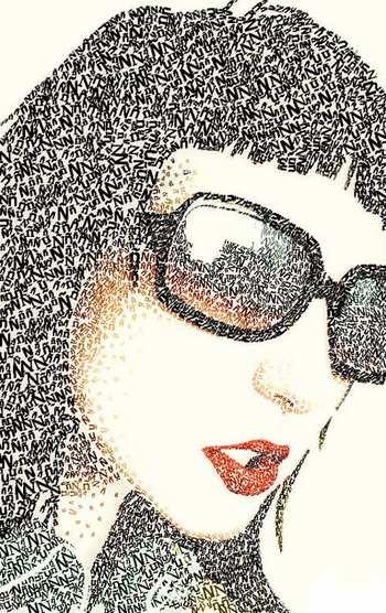 irantapesh.wordopress.Com | نقاشي فوق العاده زيبا - هنر طراحی چهره با حروف و کلمات !