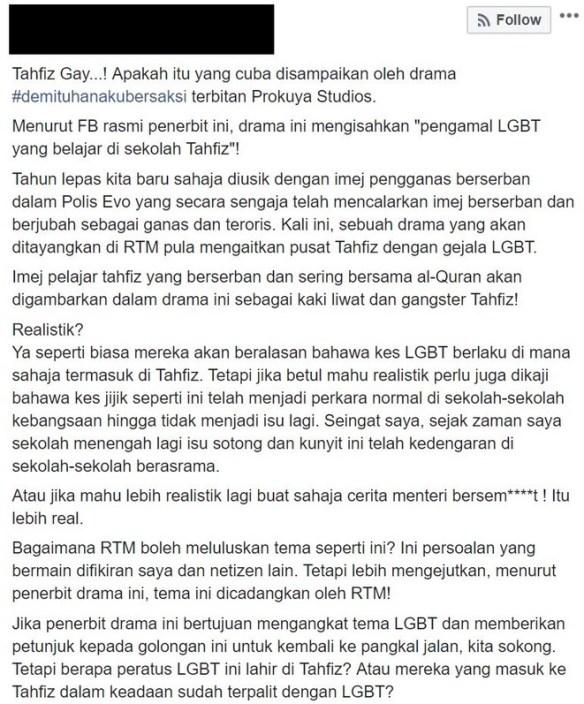 drama tahfiz gay dikecam
