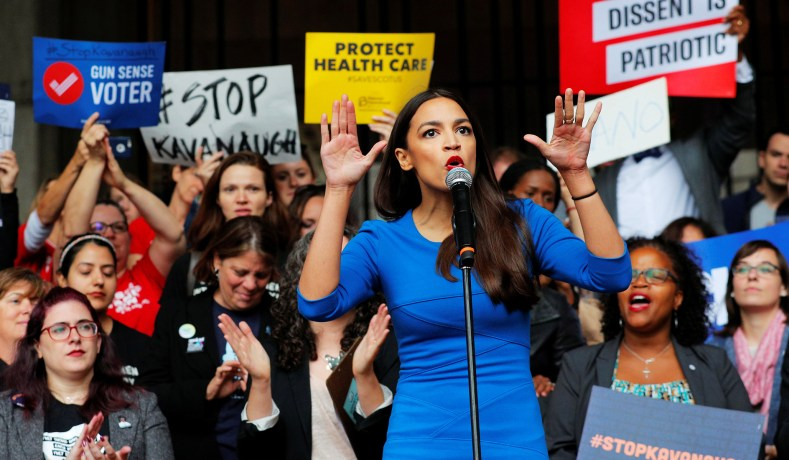 Alexandria Ocasio-Cortez speaks at a really against Supreme Court Justice Brett Kavanaugh in Boston, on October 1, 2018