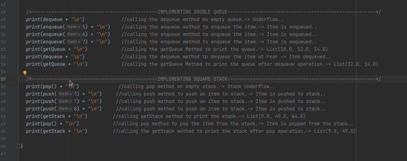 Output produced after implementing main method .