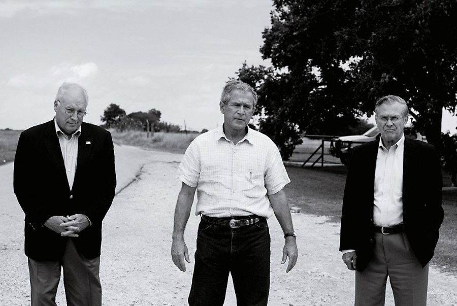 President George W. Bush, at his Crawford, Texas, with Vice President Dick Cheney and Secretary of Defense Donald Rumsfeld