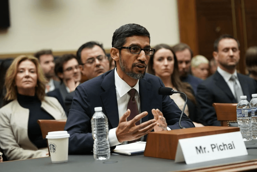 Sundar Pichai explaining why google image search 'idiot' brings up Donald Trump's pictures