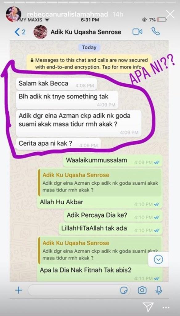 eina azman dakwa uqasha senrose goda suami rebecca nur islam