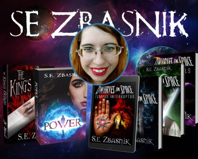 SE Zbasnik face with her various books on a space background