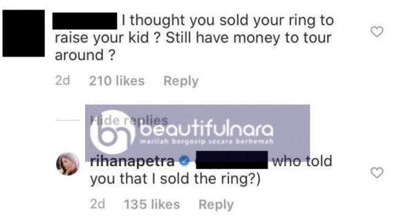rihana oksana nafi jual cincin perkahwinan
